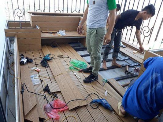 Thi công sàn gỗ nhựa dạng thanh