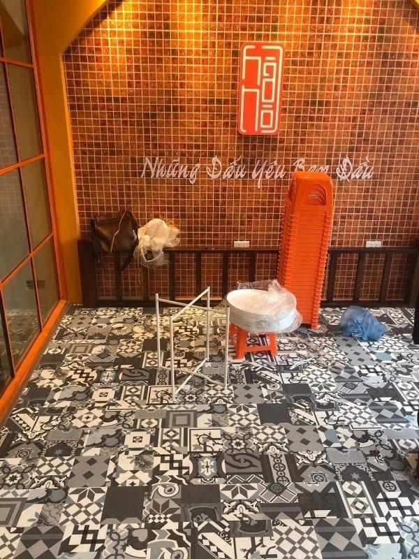 Công trình sàn nhựa giả gạch bông 4202