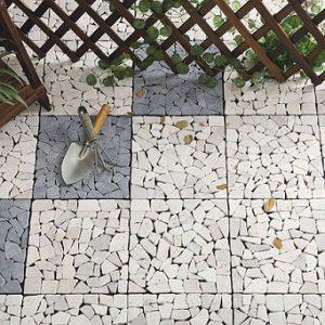 sàn vỉ lát sân vườn màu trắng sứ