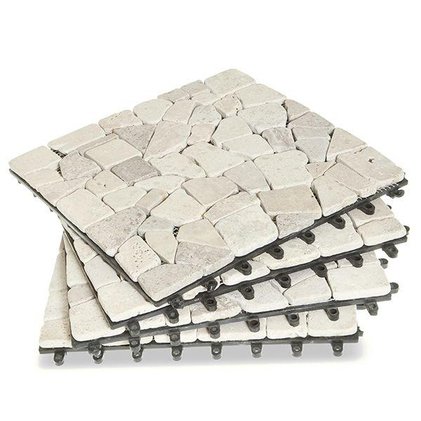 sàn vỉ đá tự nhiên màu trắng sứ lát sân vườn
