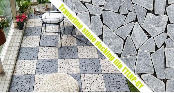 Sàn vỉ đá tự nhiên lát sân vườn màu xám