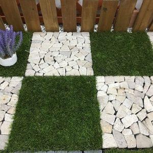 Sàn vỉ đá tự nhiên lát sân vườn màu trắng sứ